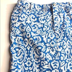 Old Navy Floral Print Denim ALine Pencil Skirt 16